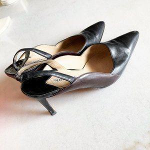 Manolo Blahnik black brown leather slingback heels